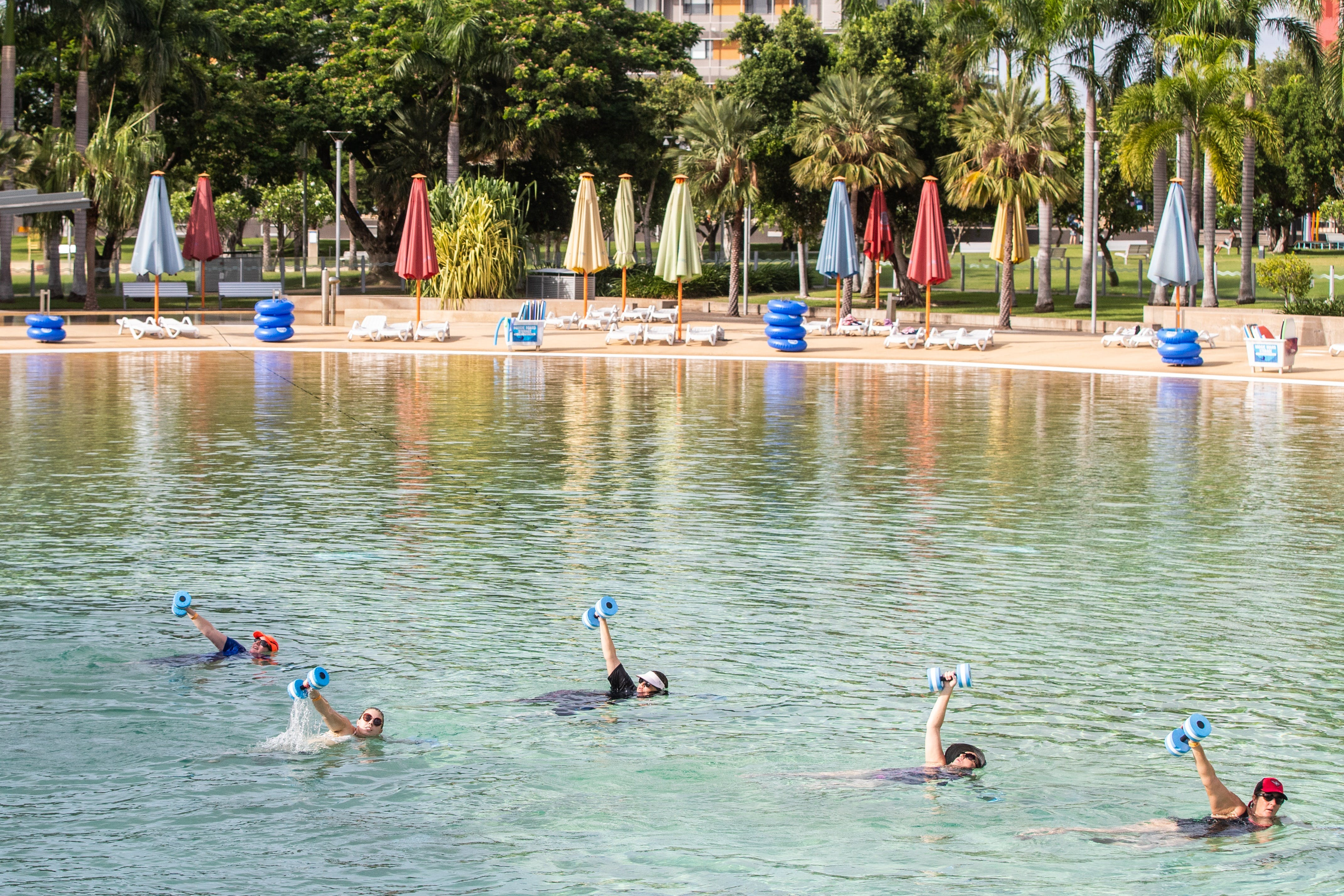 Aqua fitness in the Wave Lagoon - tourismnoosa.com
